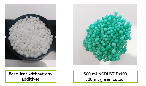 Fertilizers with and without coloring agents. fertilizer color additives